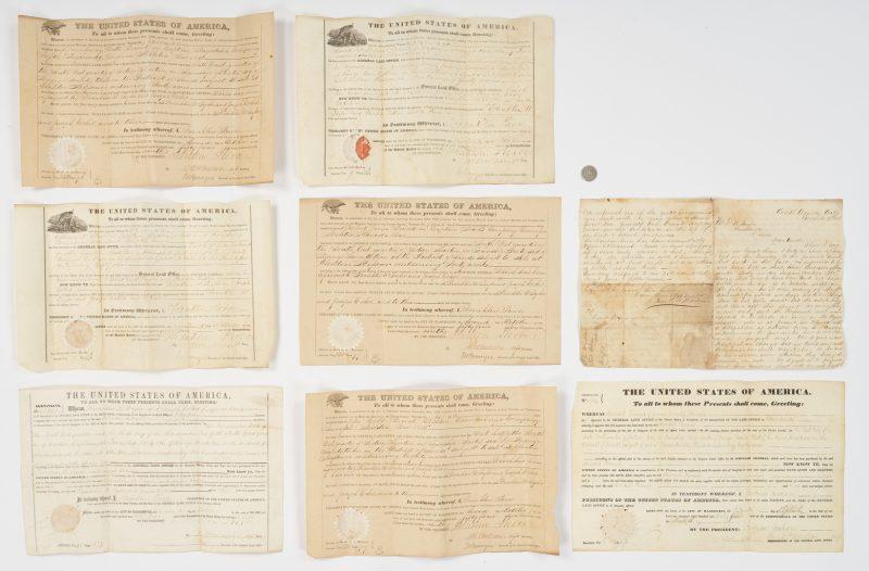 Lot 647: 6 Franklin Pierce Signed Land Grants, 8 items