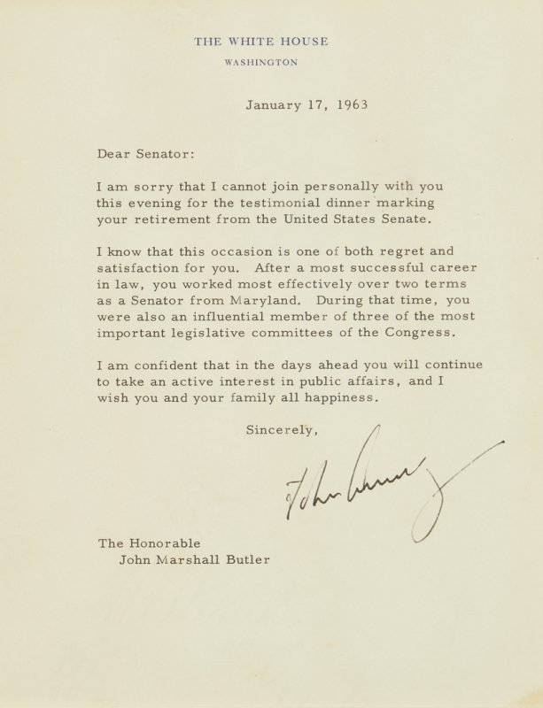Lot 651: John F. Kennedy TLS to Sen. John M. Butler, 1963