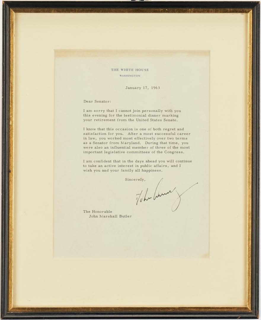 Lot 651: John F. Kennedy TLS to Sen. John M. Butler, 1963