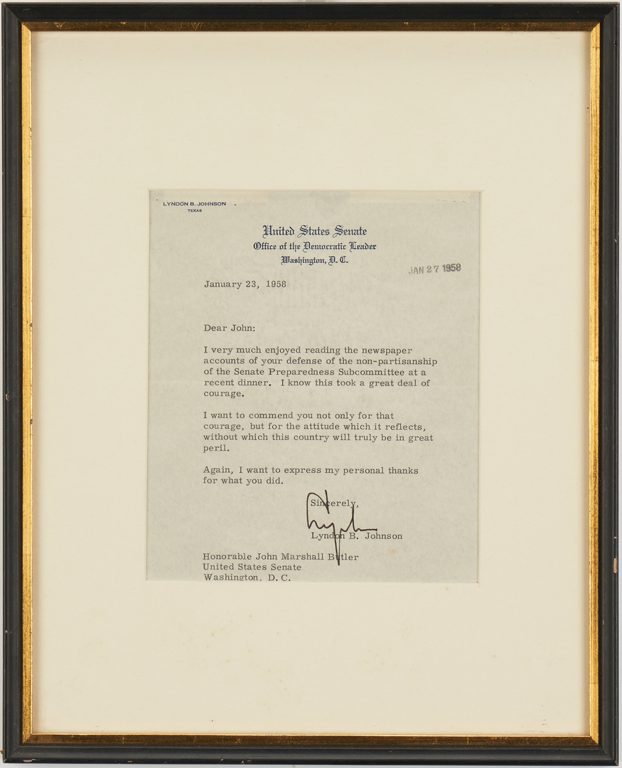 Lot 652: Senator J.M. Butler Archive, incl. LBJ Signed Items