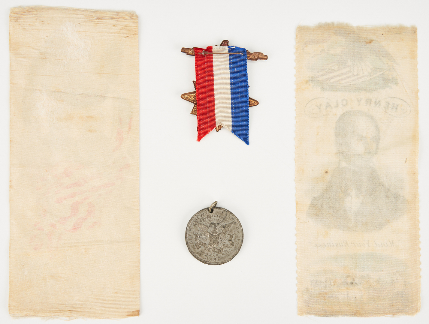 Lot 656: 4 Political Items, incl. Henry Clay Ribbon, 1844
