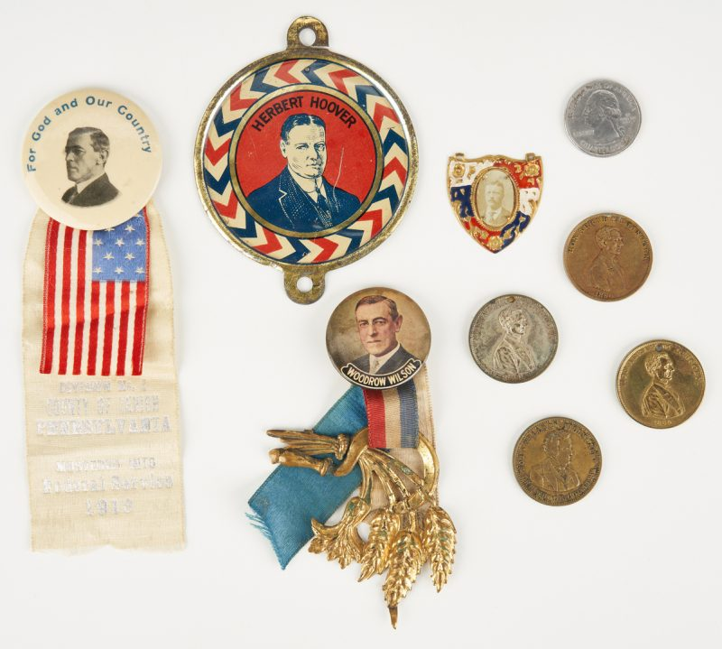 Lot 657: 8 Political Items, incl. Lincoln 1860 Campaign Coins