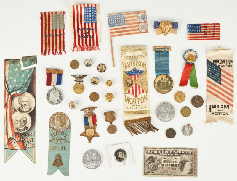 Lot 658: 31 Political Related Ephemera Items, incl. B. & Wm. H. Harrison