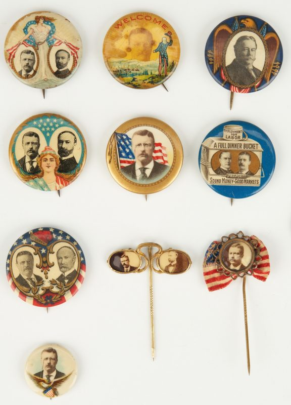 Lot 659: 10 Political Ephemera Items, incl. McKinley, Roosevelt, Taft