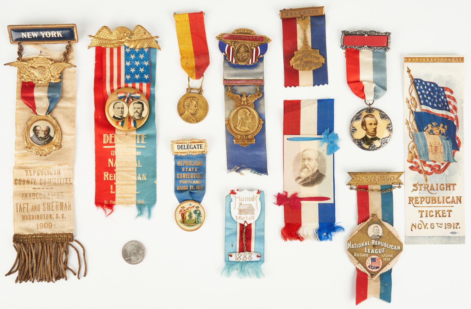 Lot 660: 11 Political Party Ribbon Badges & Ribbons inc. Taft