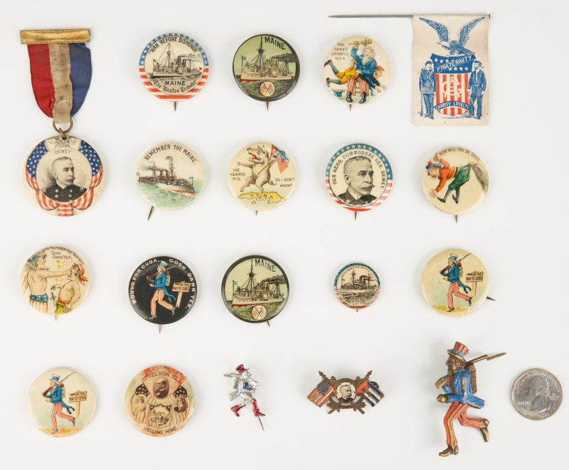 Lot 661: 19 Spanish-American War Ephemera Items, incl. Buttons