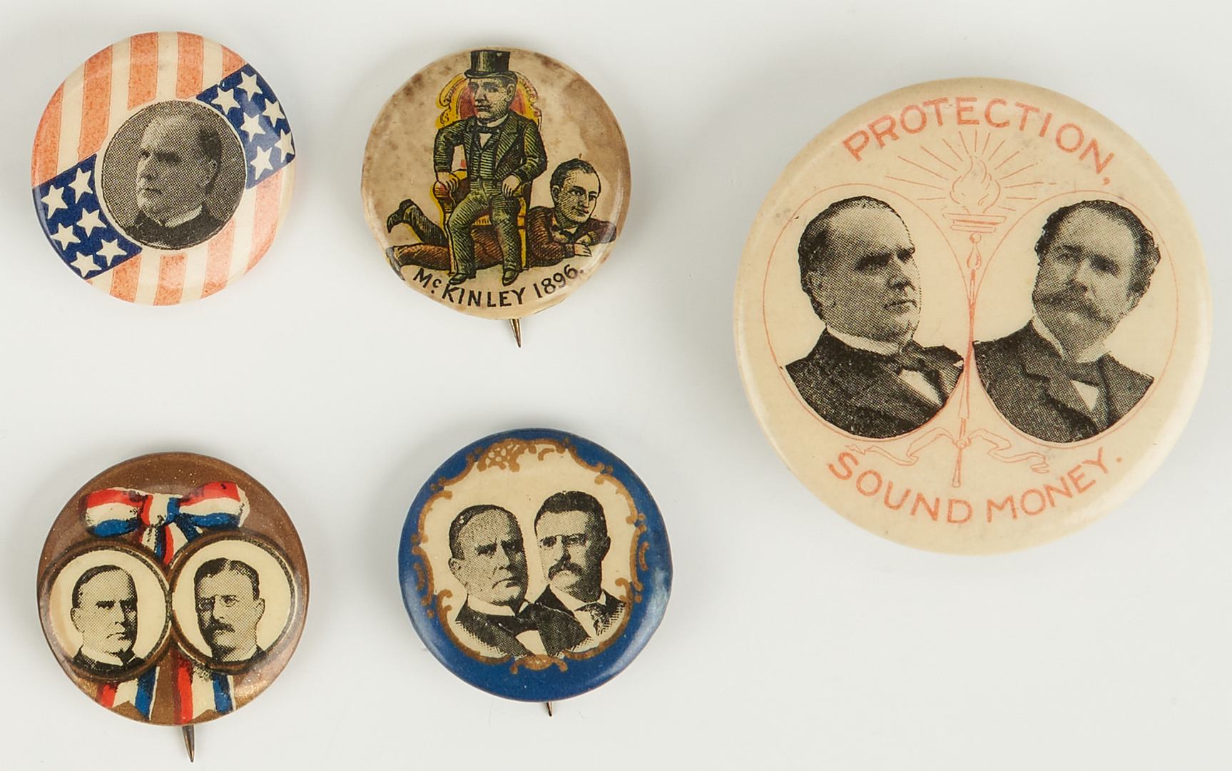 Lot 663: 9 William McKinley Presidential Campaign Button & Ribbons
