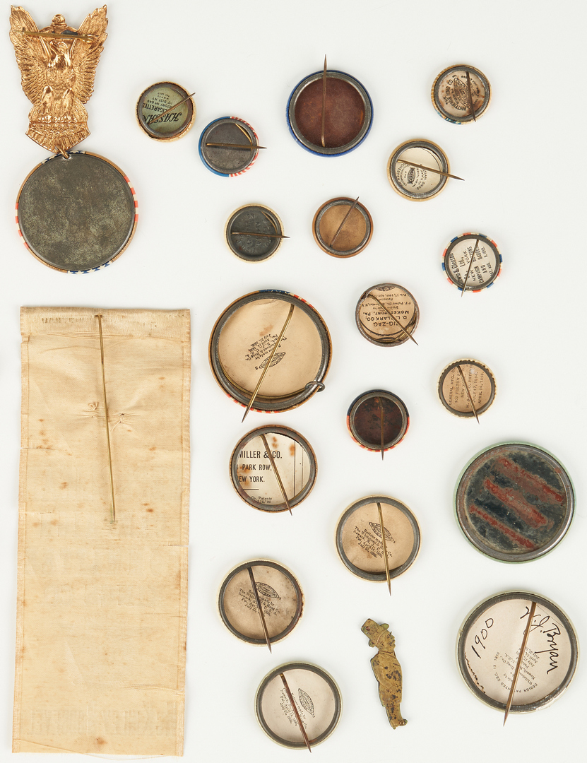 Lot 665: Group of Political Items, incl. McKinley/Roosevelt Buttons