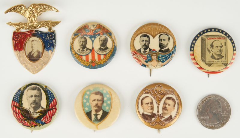 Lot 667: Presidential Campaign Ephemera Items, incl. Bryan, McKinley, T. Roosevelt