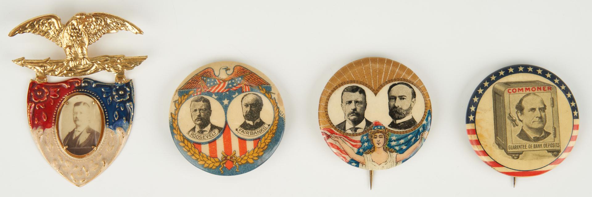 Lot 667: Presidential Campaign Ephemera Items, incl. Bryan, McKinley, T. Roosevelt