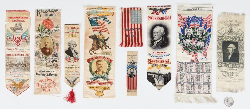 Lot 668: 9 Political Ribbons, including Louisiana Purchase, Washington, GOP