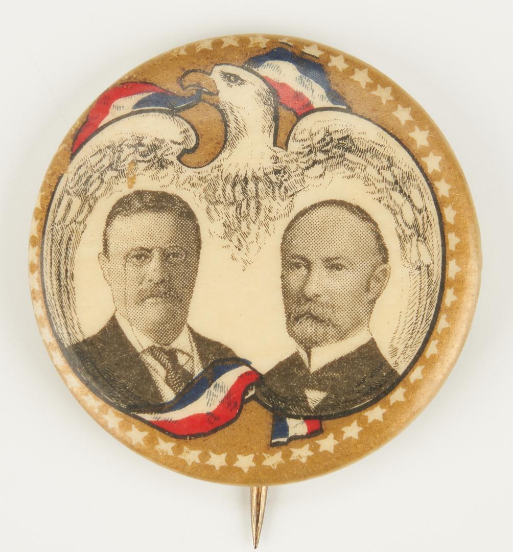 Lot 669: 3 Political Buttons, incl. Wilson, Debs, Roosevelt