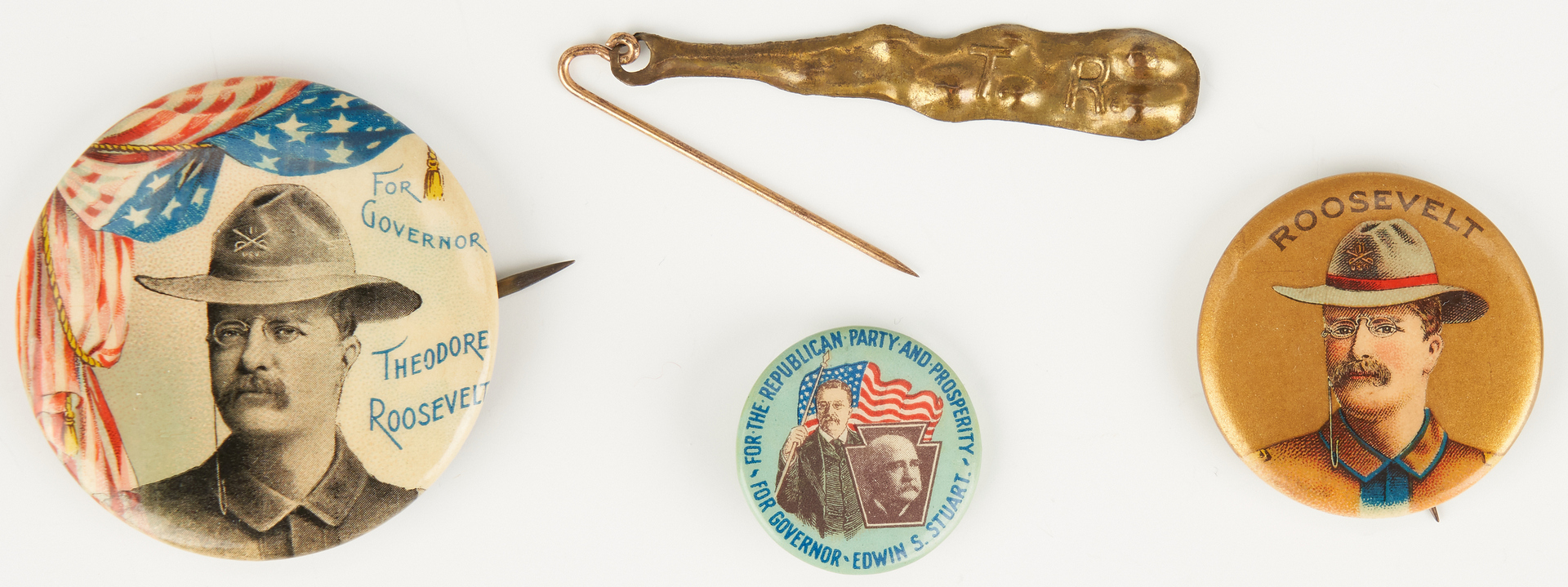 Lot 673: 4 Theodore Roosevelt Political Buttons