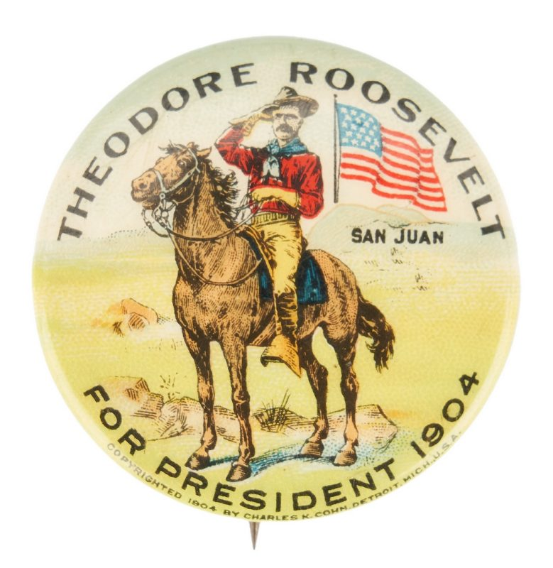 Lot 674: T. Roosevelt San Juan Hill Presidential Campaign Button, 1904