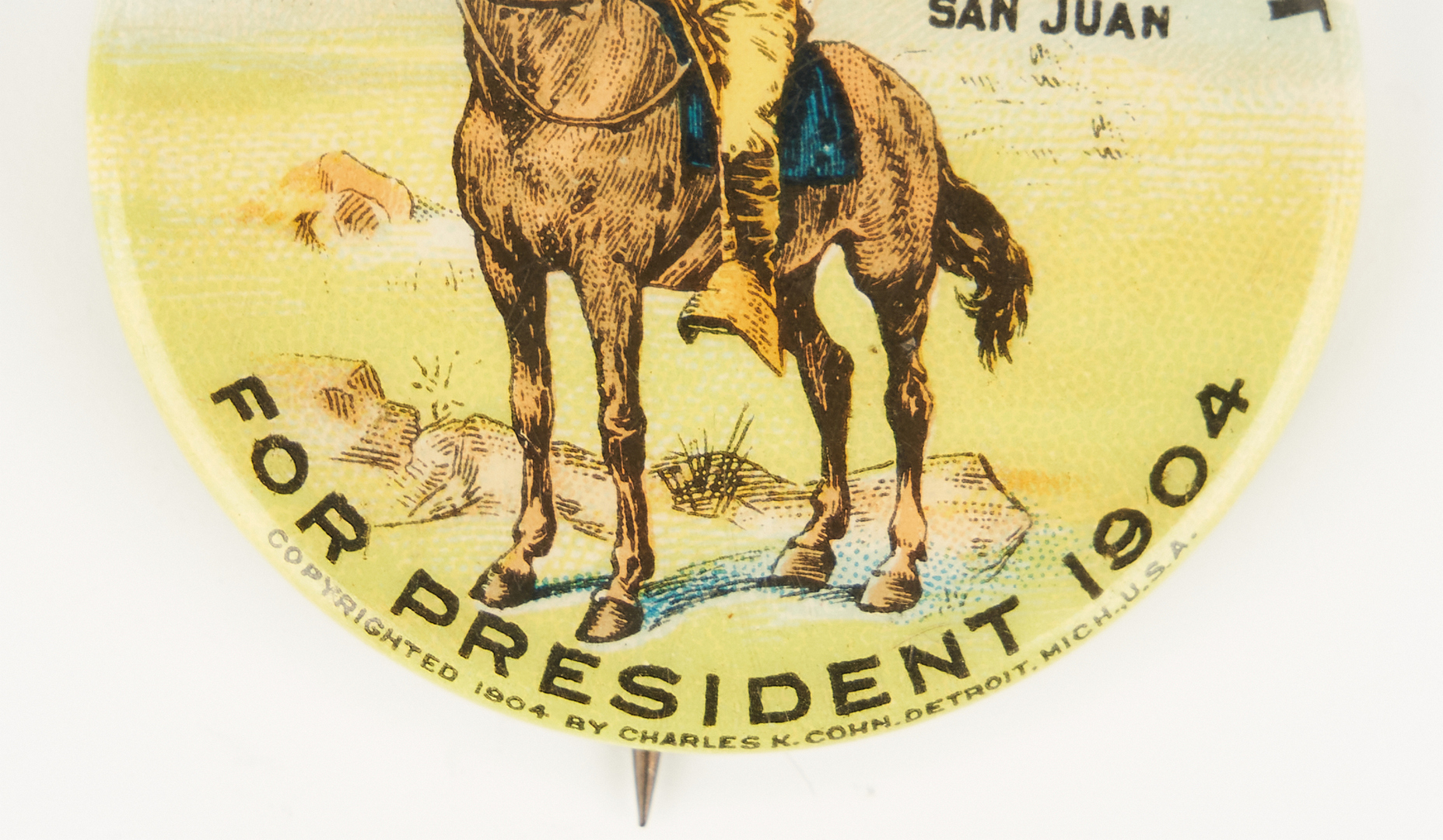 Lot 674: T. Roosevelt San Juan Hill Presidential Campaign Button, 1904