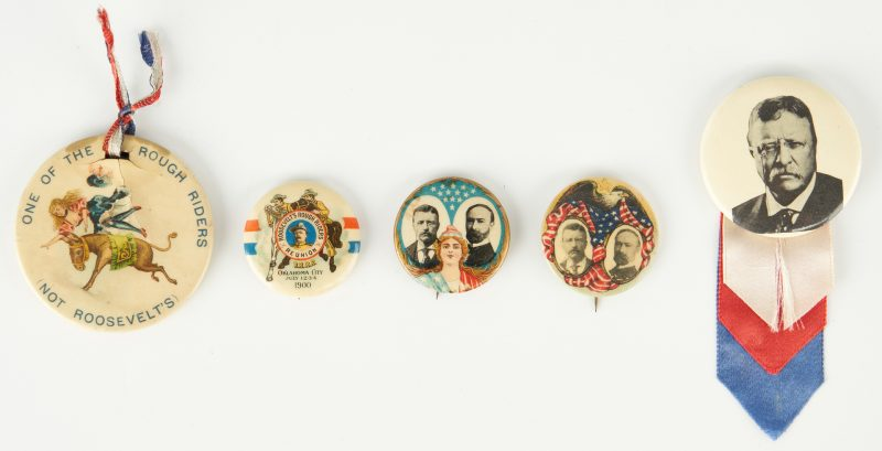 Lot 676: 5 T. Roosevelt Badge & Buttons, incl. Rough Riders