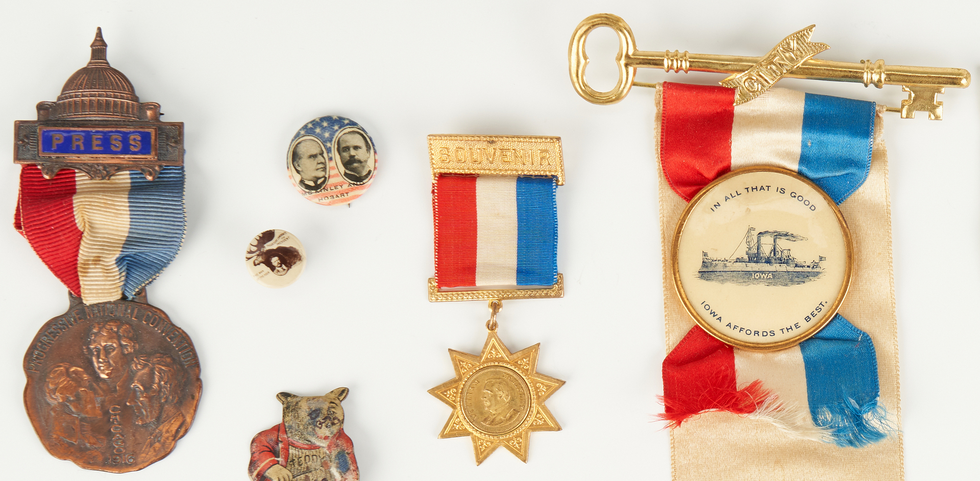 Lot 681: Group of Political Items, incl. The Right Men button, 1900
