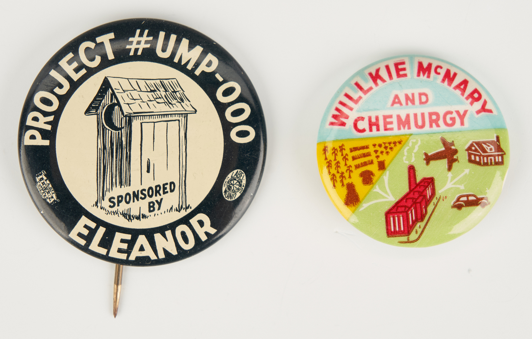 Lot 684: 5 Wendell Wilkie Buttons, incl. Willkie McNary and Chemurgy Button