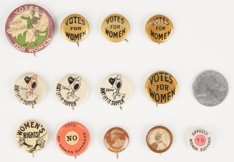 Lot 685: 13 Women's Suffrage Buttons, incl. WSPU Trumpeter Button