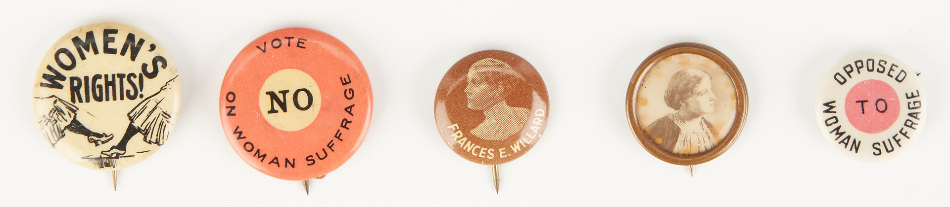 Lot 685: 13 Women's Suffrage Buttons, incl. WSPU Trumpeter Button