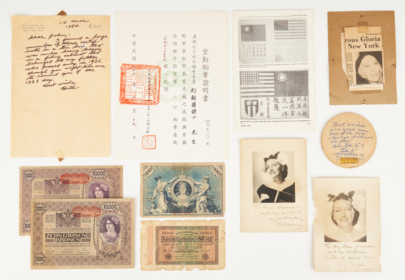 """Lot 690: WWII Archive, incl. Flying Tigers AVG """"Blood Chit"""""""
