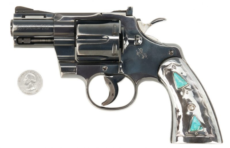 Lot 693: Colt Python w/ Silver and Turquoise Handles
