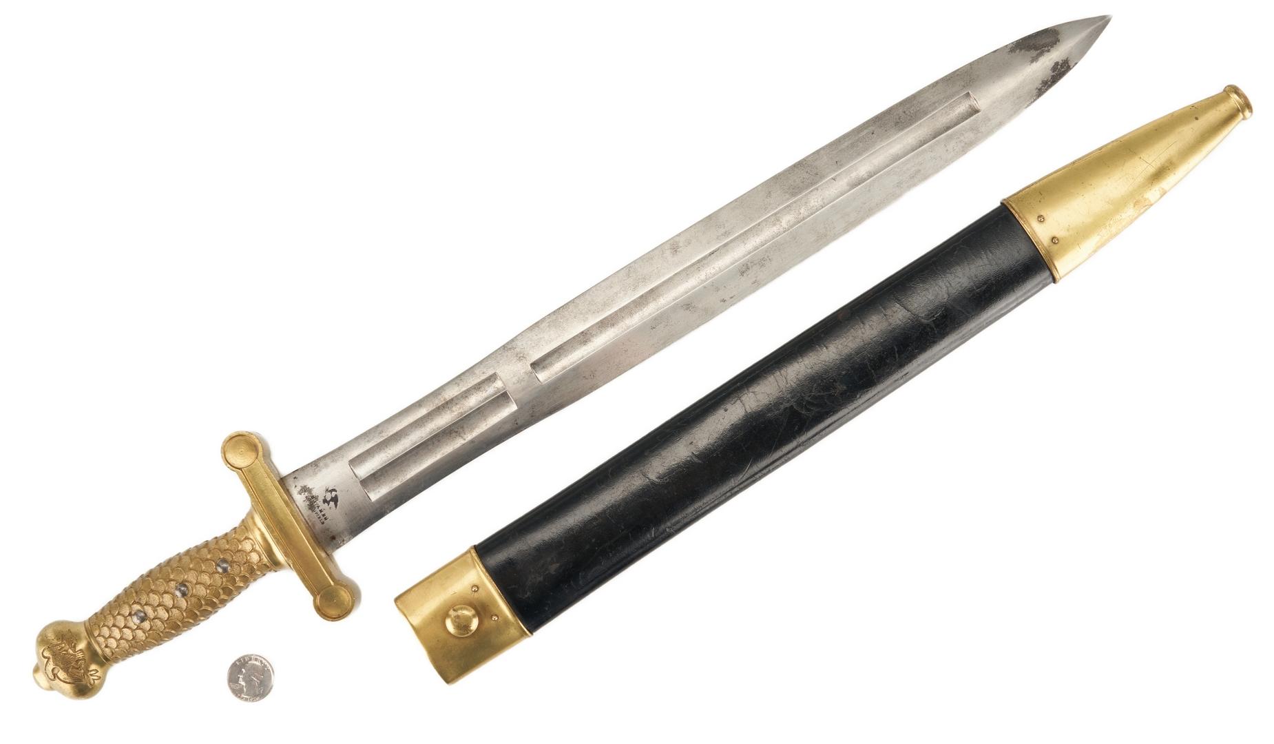 Lot 713: U.S. Springfield Artillery Model 1832 Short Sword & Scabbard