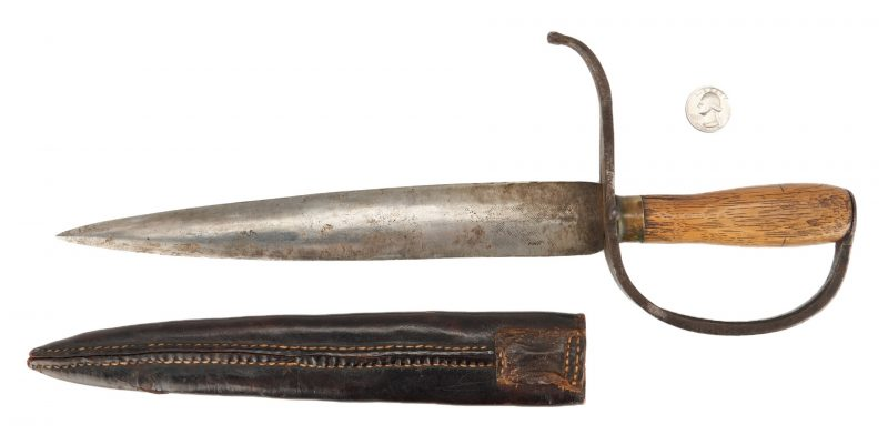 Lot 714: Confederate D Guard Bowie Knife w/ Scabbard, poss. Georgia