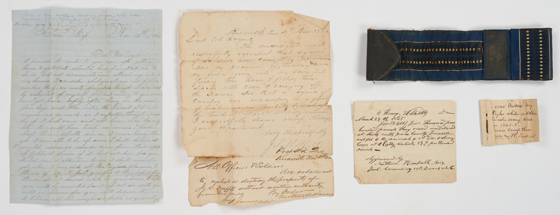 Lot 718: Civil War Feamster/Taylor Family Archive, 8 items