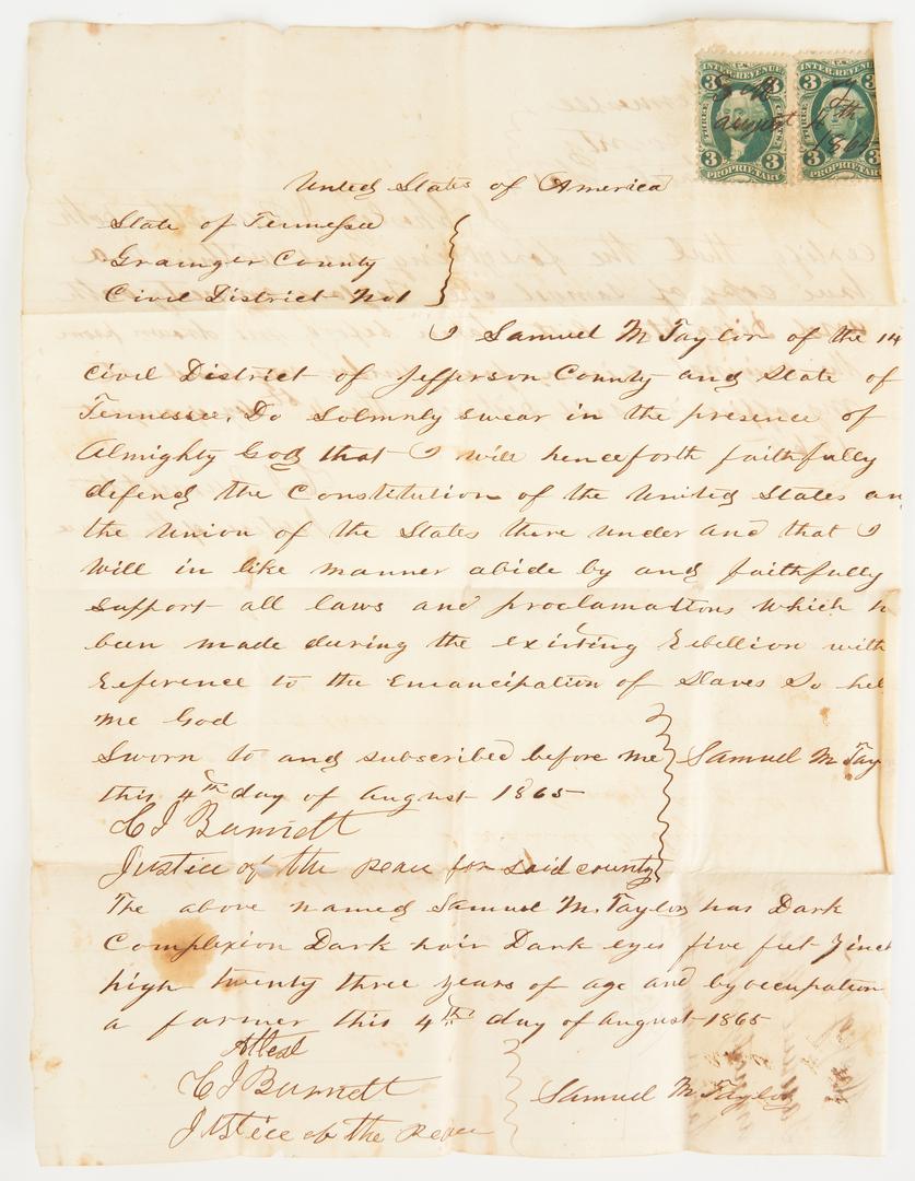 Lot 719: SM Taylor Confederate Civil War Parole Documents