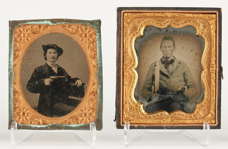 Lot 720: CSA Ambrotype & Tintype of Man w/ Gun