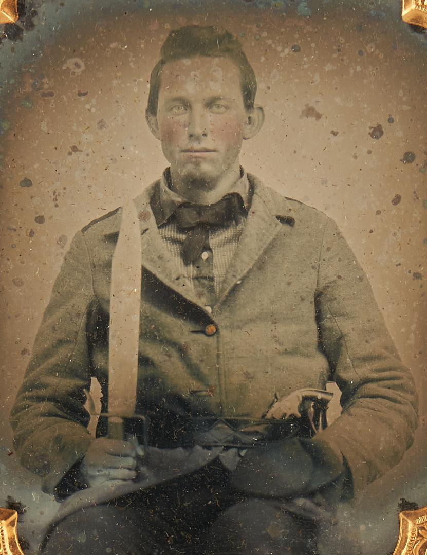 Lot 720: CSA Ambrotype & Tintype of Man w/ Gun