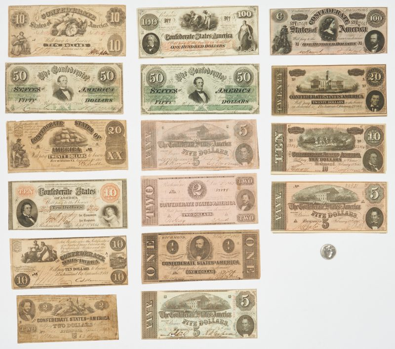 Lot 725: 16 Pcs. CSA Currency, incl. 6 dated 1861