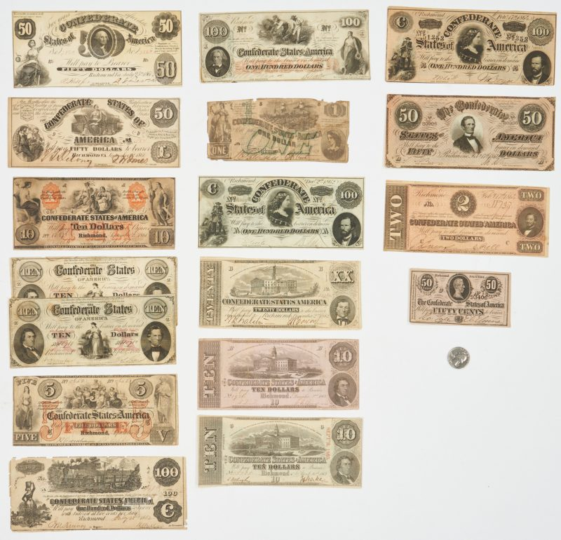 Lot 726: 17 Pcs. CSA Currency, incl. 5 dated 1861