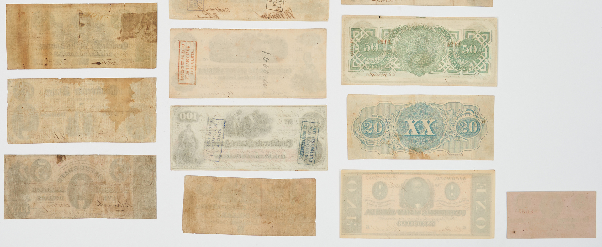 Lot 727: 20 Pcs. CSA Currency, incl. 8 dated 1861