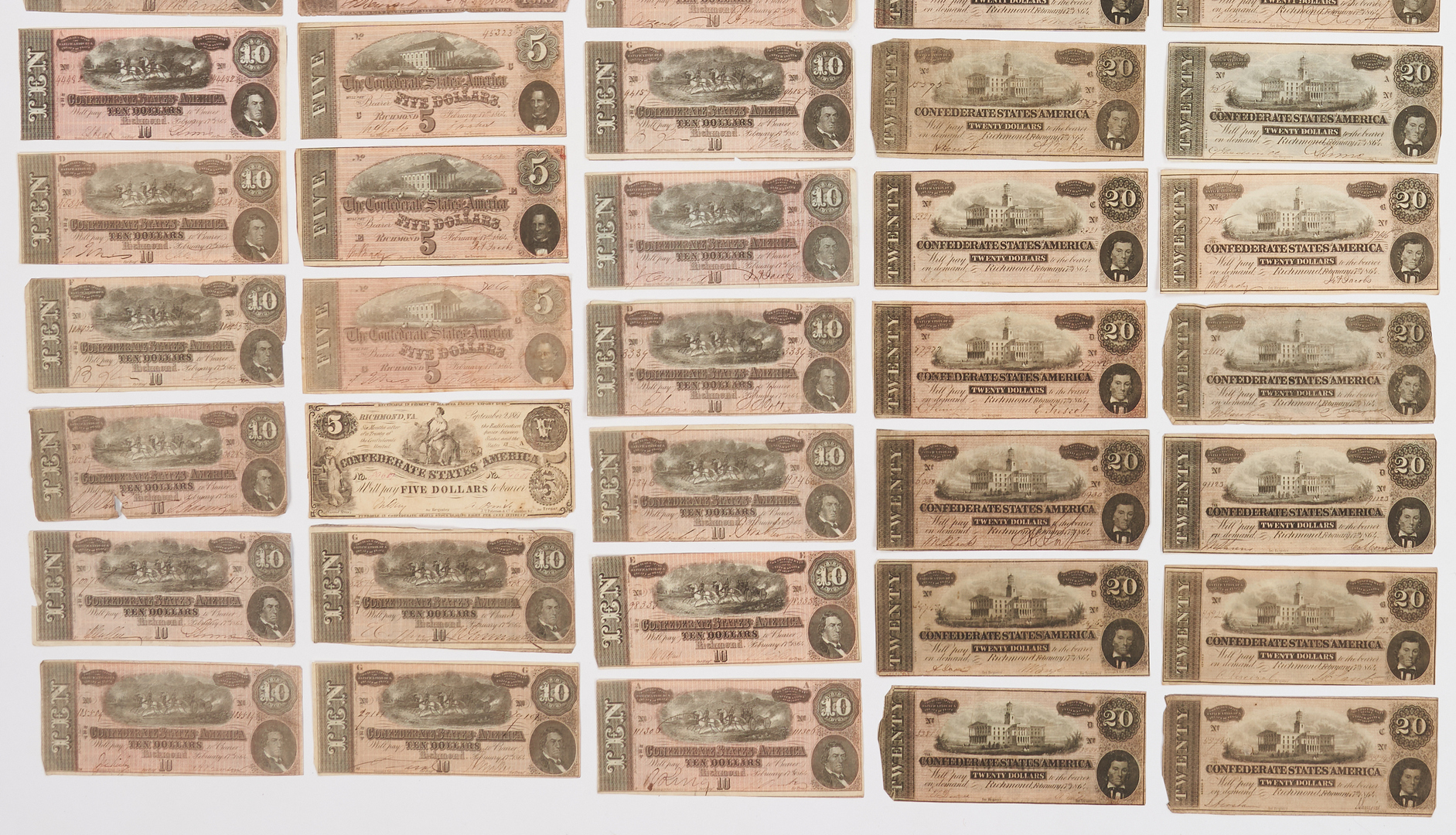 Lot 728: 122 CSA Currency Bills, incl. T-39, T-40, T-66