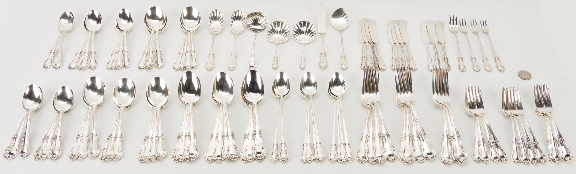 Lot 72: 132 pcs. International Joan of Arc Sterling Silver Flatware