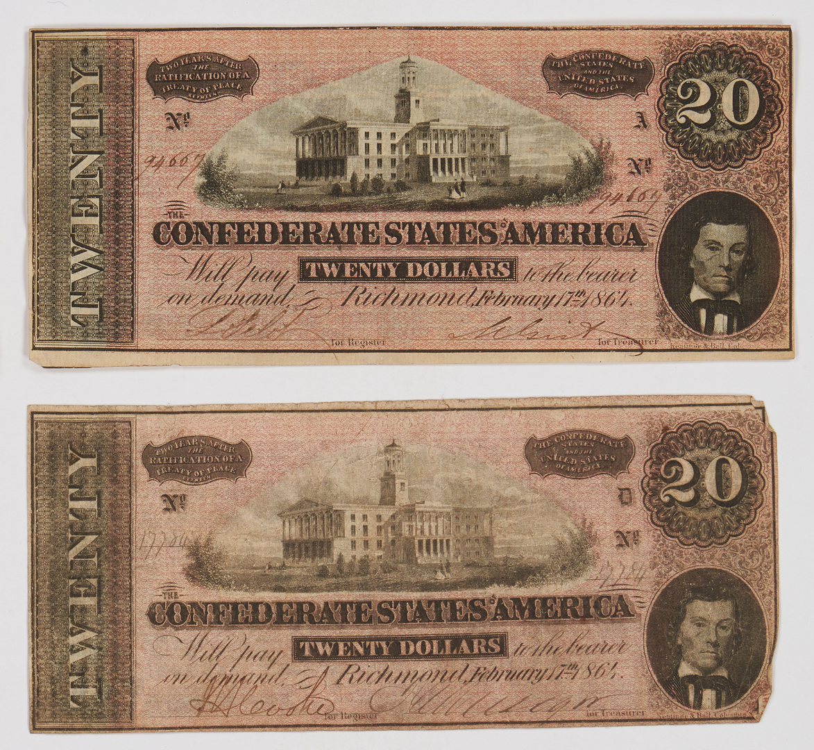 Lot 730: 122 CSA Currency Bills, incl. T-40, T-65, T-66