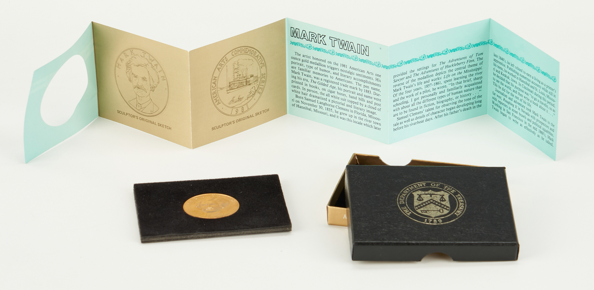 Lot 732: 1981 Mark Twain American Arts Gold Medallion