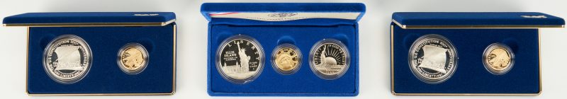 Lot 733: 3 US Coin Proof Sets, incl. 1987 Constitutional, 1986 Liberty