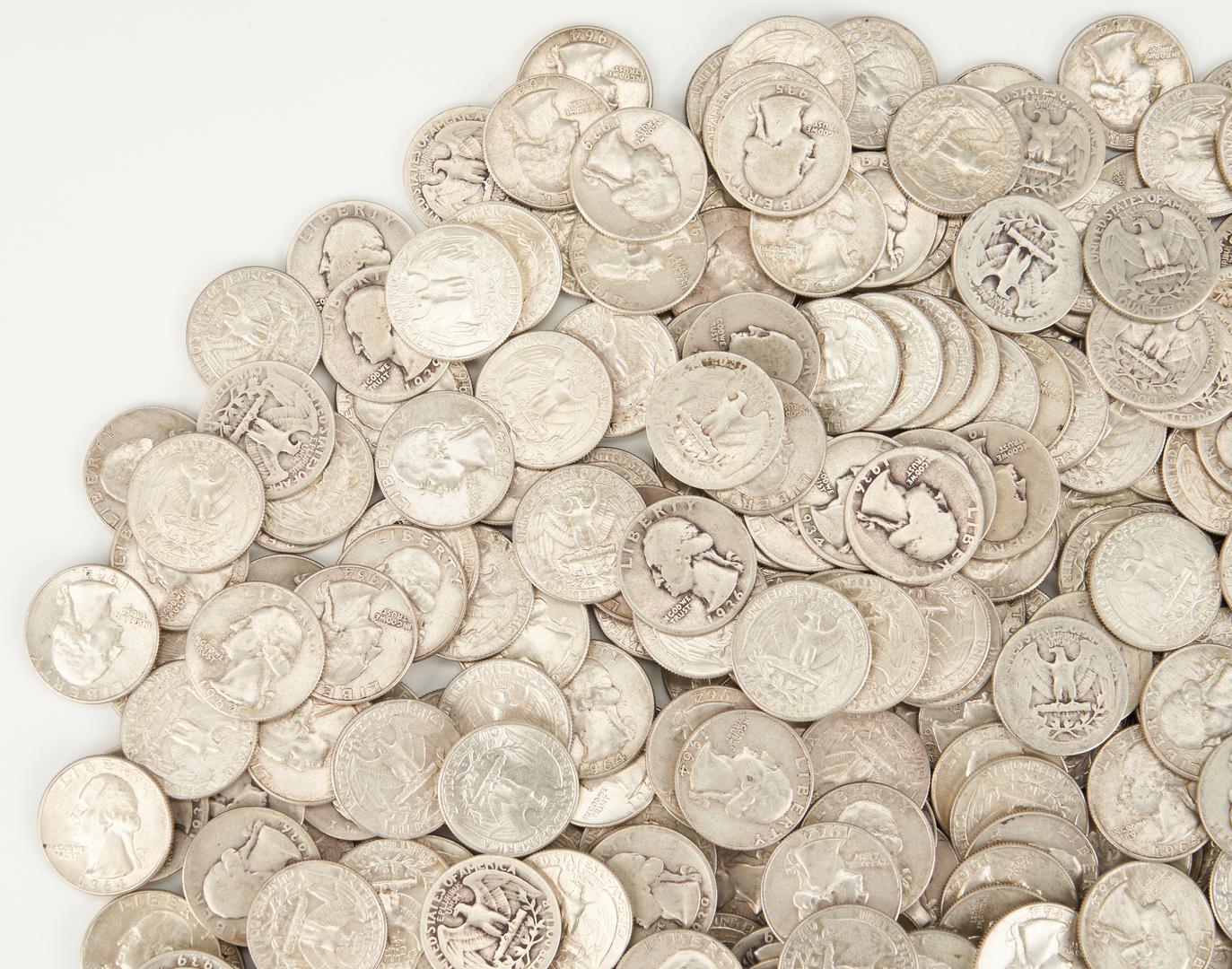 Lot 734: 412 90% silver Washington Quarters, 1930-39, 64-D