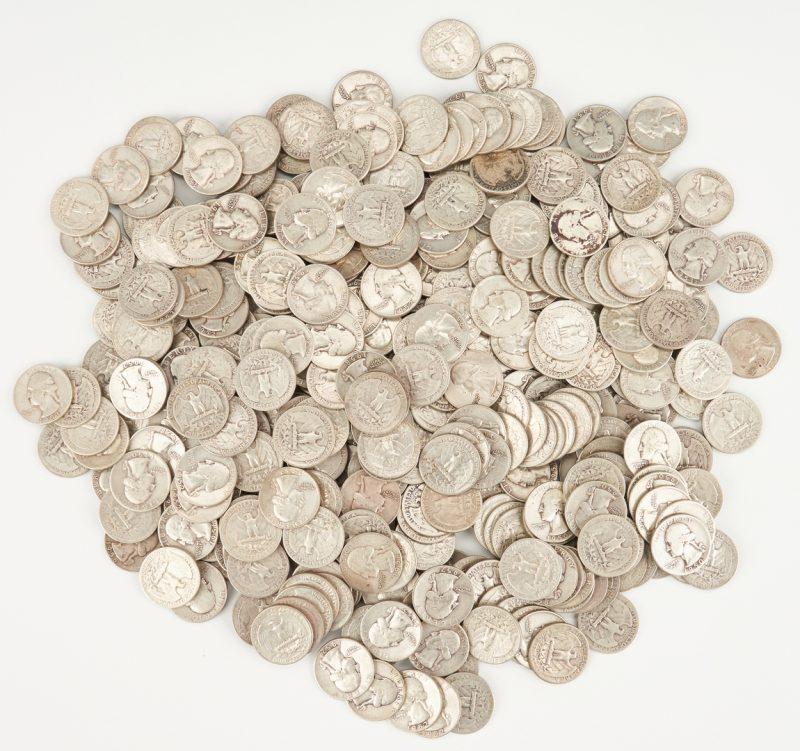 Lot 735: 424 90% silver Washington Quarters, 1950-59