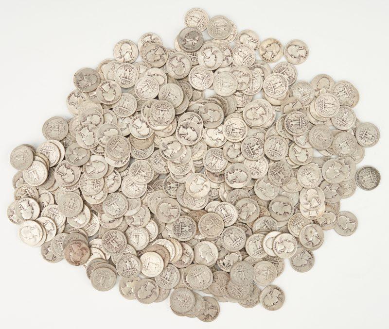 Lot 736: 406 90% Washington Silver Quarters, 1941-49