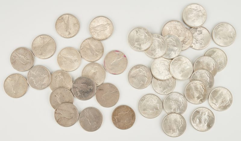 Lot 741: Group of Peace Silver Dollars, incl. UNC Roll