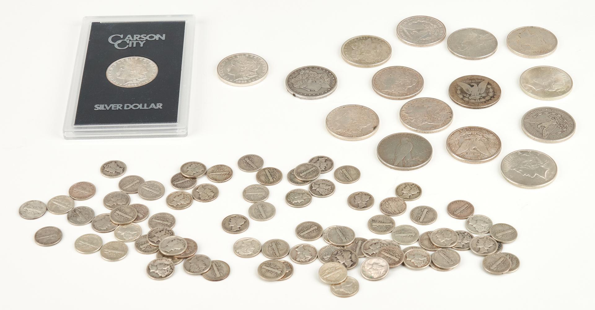 Lot 742: 93 Silver Coins, incl. UNC Morgan CC, Peace, Mercury
