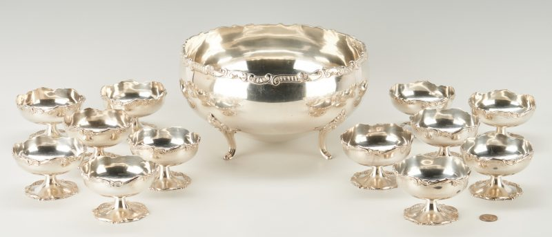 Lot 74: Peruvian Sterling Bowl & 12 Dessert Cups plus S/P tray