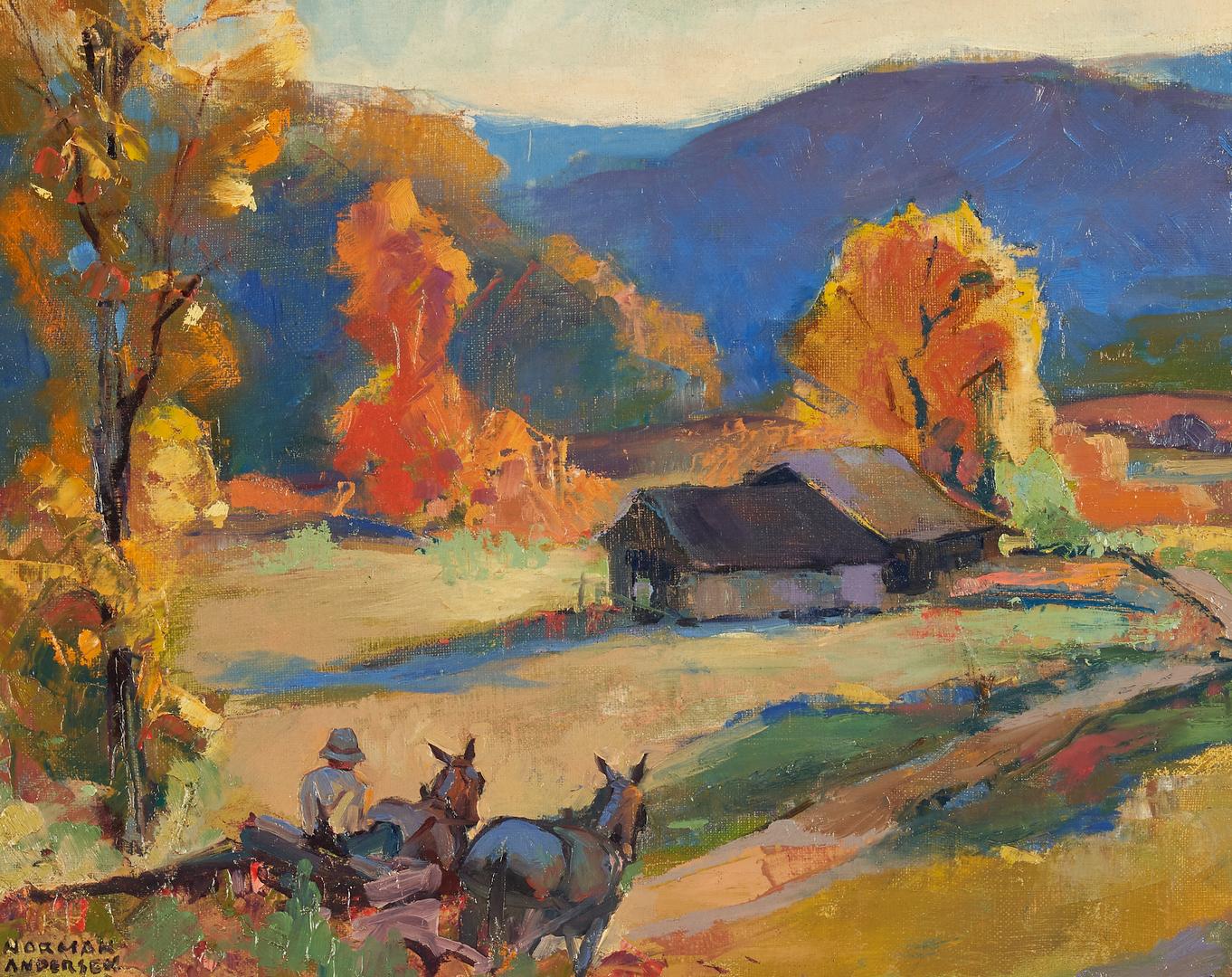 Lot 751: Norman Anderson O/C, Farmhouse in Autumn Landscape