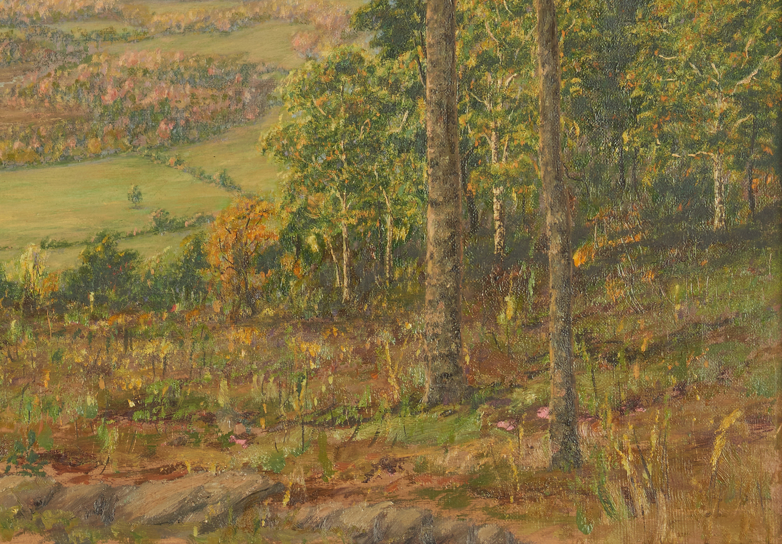 Lot 752: Panoramic Oil on Canvas Landscape, John Earhart