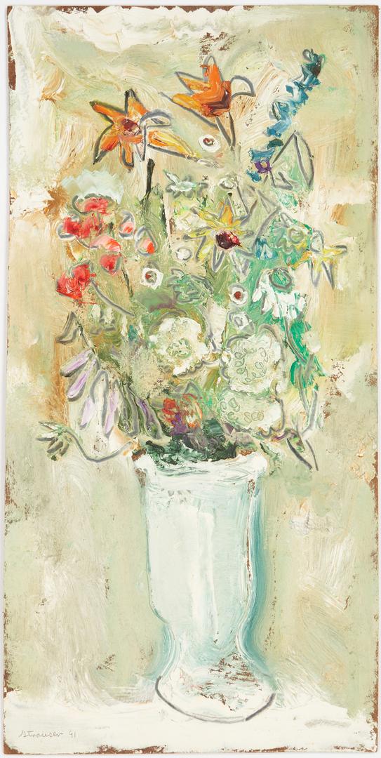 Lot 754: Sterling Strauser O/B Floral Still Life