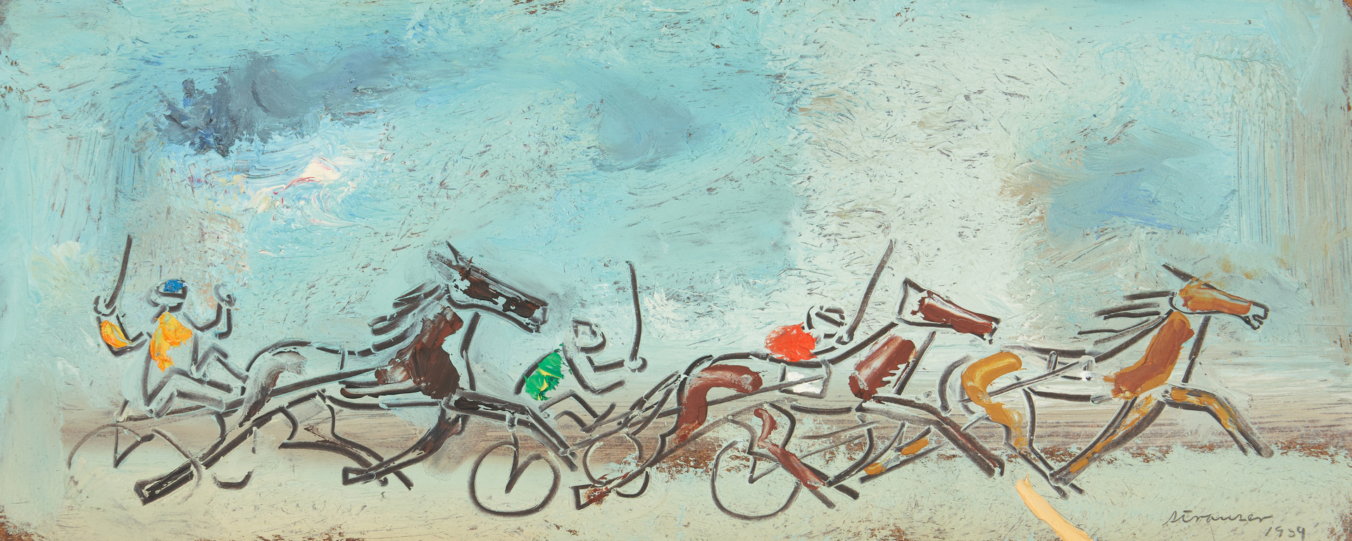 Lot 755: 2 Sterling Strauser paintings, Racing Scene and Amaryllis